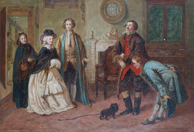 William Powell Frith, RA (British, 1819-1909) Mr Honeywell introduces the bailiffs to Miss Richland