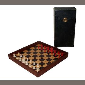 "A large ""In Statu Quo"" travelling chess set, Jaques, 19th century,"