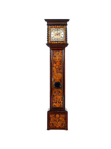 A good late 17th century walnut and marquety inlaid longcase clock  John Hunt, London