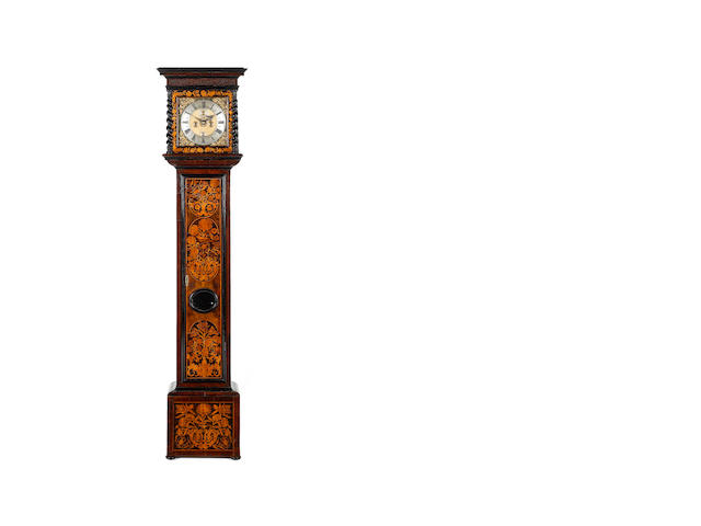 A good late 17th century walnut and marquety inlaid longcase clock  John Hunt, London