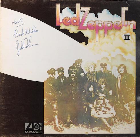 A copy of the album 'Led Zeppelin II' autographed by John Bonham,