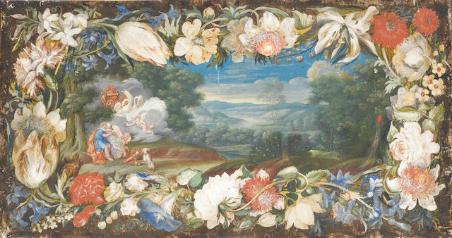 Flemish School, late 17th Century Venus and Adonis embracing in a landscape surrounded by a garland of flowers 235 x 447 mm.