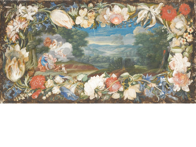 Flemish School, Late 17th Century Venus and Adonis embracing in a landscape surrounded by a garland