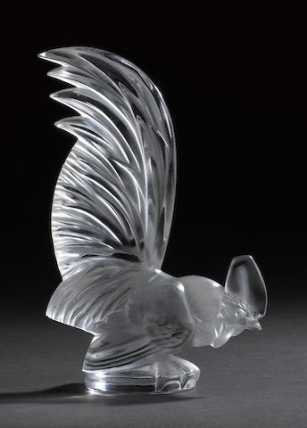 A 'Coq Nain' glass mascot by Lalique, French, post-war, .