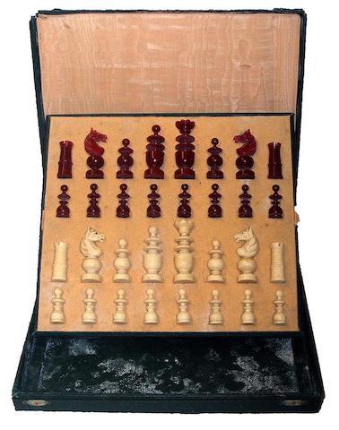 "A ""Regence Pattern"" plastic chess set, French, circa 1920,"
