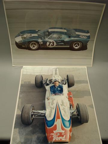 Three photographs of Ford powered racing cars,