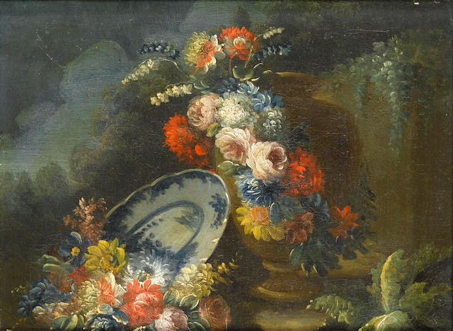 Circle of Nicola Casissa (active Naples-1730) Roses, chrysanthemums, daffodils and  24 x 31.3 cm (9