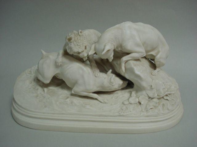 A Copeland Parian figure group of dogs after Landseer