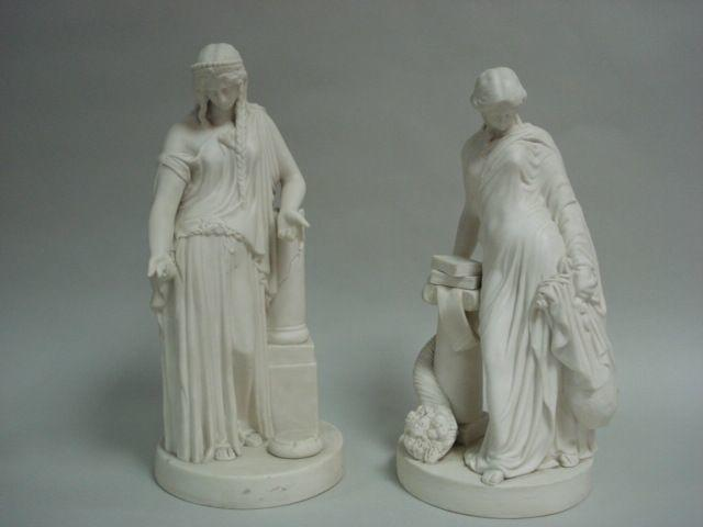 A Pair of 19th Century Parian figures