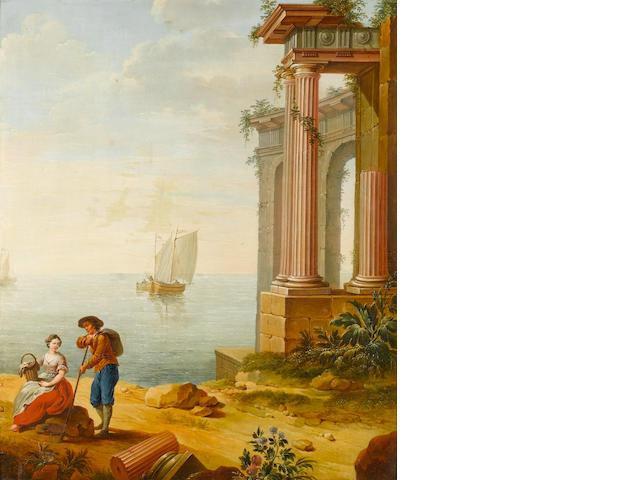 Follower of Hubert Robert (Paris 1733-1808) A Mediterranean coastline with travellers resting before