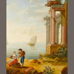 Follower of Hubert Robert (Paris 1733-1808) A Mediterranean coastline with travellers resting before