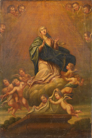 Italian School, 17th Century Ascension of the Virgin unframed