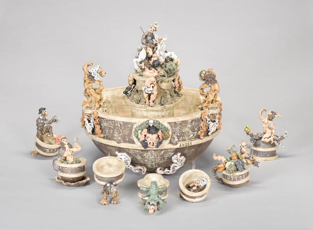 Stephen Dixon, Seven Deadly Sins Punchbowl, six Cups and Ladle