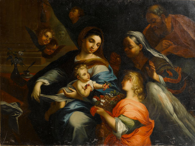 Roman School, 19th Century The Madonna and Child with Saints Joachim and Anne unframed