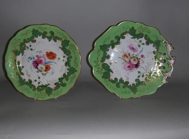A 19th Century Staffordshire dessert service with floral decoration and green borders
