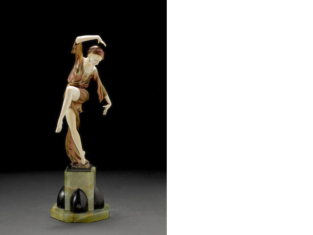 Ferdinand Preiss 'Autumn Dancer' a Cold-Painted and Carved Ivory Figure, circa 1925