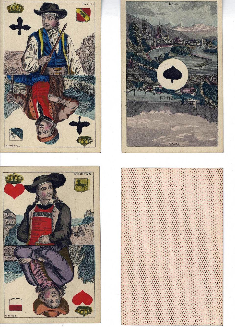 A Swiss Costume pack with Scenic Aces, by C.L. Wust of Frankfurt, circa 1860,