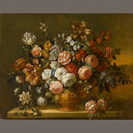 Manner of Pieter Casteels III Roses, tulips, chrysanthemums, morning glory and other flowers