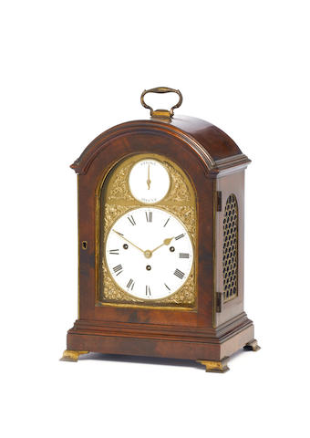 A good, small late 18th century quarter chiming mahogany bracket clock with enamel dials  John Taylo