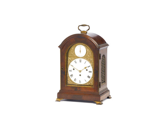 A good small late 18th century quarter chiming mahogany bracket clock with enamel dials John Taylor, London, the movement numbered 2264
