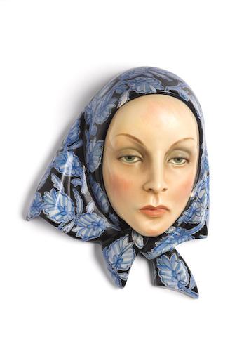 Helen König Scavini, attributed for Lenci A Pottery Wall Mask, circa 1930