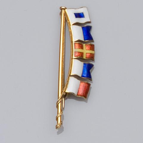 A 9ct gold enamelled flag brooch