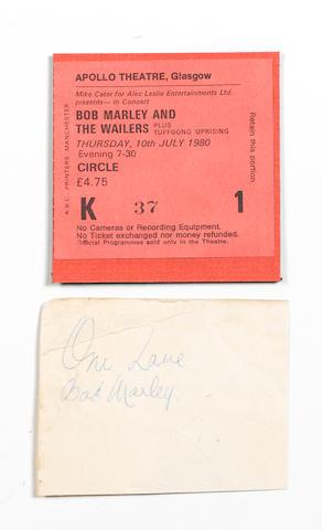A Bob Marley autograph,