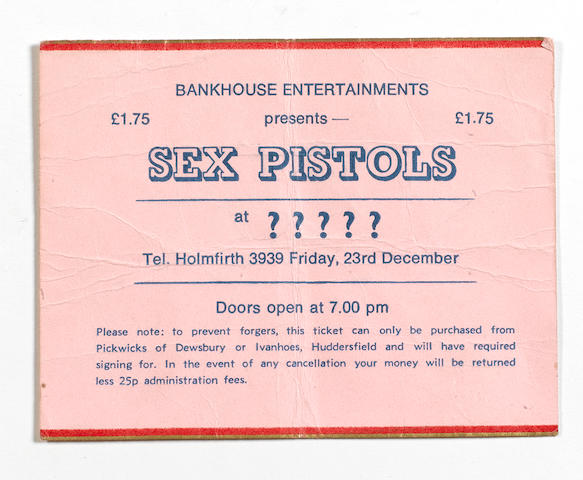 A rare ticket for the Sex Pistols at Ivanhoes Club, Huddersfield, dated 23rd December 1977,