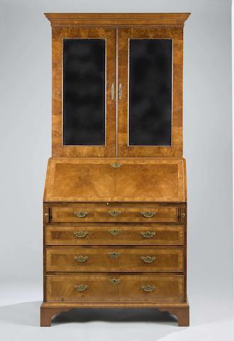 An 18th century and later walnut bureau cabinet