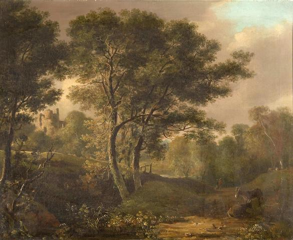 Attributed to John Joseph Barker (of Bath) (British, 1824-1904) Wooded landscape with figures and donkeys, and castle ruins in distance