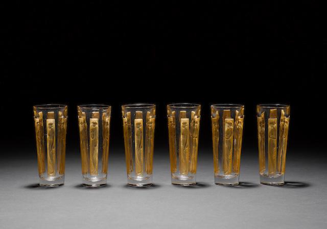 René Lalique 'Six Figurines' a Set of Six Drinking Liquer Glasses, design 1911
