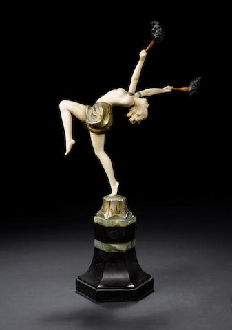 Ferdinand Preiss 'Torch Dancer', a Cold-Painted Bronze and Carved Ivory Figure, circa 1925