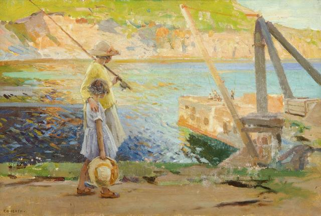 Frank Gascoigne Heath (British, 1873-1931) Two young fishergirls at Lamorna Cove
