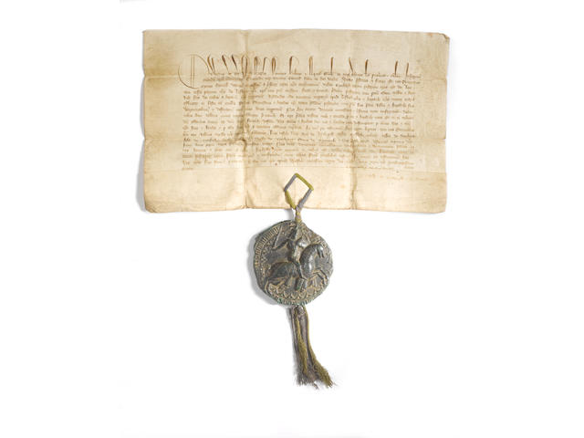 Edward III vellum document with Royal seal regarding fishing rights on Looe River Cornwall, 1368