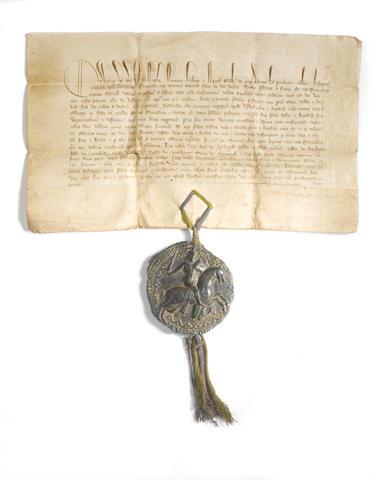 Edward III vellum document with Royal seal regarding fishing rights on Looe River Cornwall, 1368