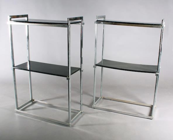 A pair of chrome plated metal open frame free and floorstanding display stands