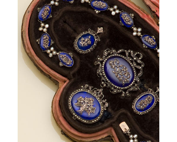 An antique marcasite and enamel suite