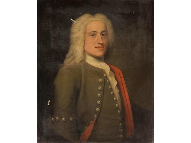Haynes, 18th Century Portrait of Peter Harvey Esq of Norwich, half length, wearing brown jacket and waistcoat with brass buttons, and long white wig, together with a companion portrait of Mrs Peter Harvey, a pair,