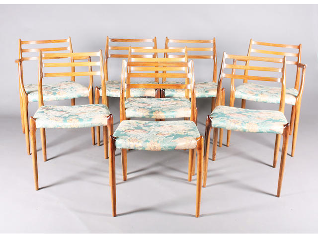 A set of eight solid rosewood dining chairs attributed to Moller