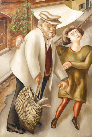 Sir Stanley Spencer R.A. (British, 1891-1959) Crossing the Road 76 x 51 cm. (30 x 20 in.)
