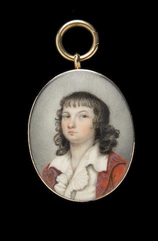 English School, circa 1785 A Young Boy, wearing red coat, white waistcoat and frilled chemise