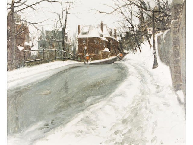 John Geoffrey Caruthers Little, R.C.A (Canadian, born 1928) Rosemount Crescent #2, North side, Westmount, Québec 24 x 30in (61 x 76.2cm)