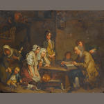 After Jean Baptiste Greuze, 19th Century The father of the family reads the Bible to his children