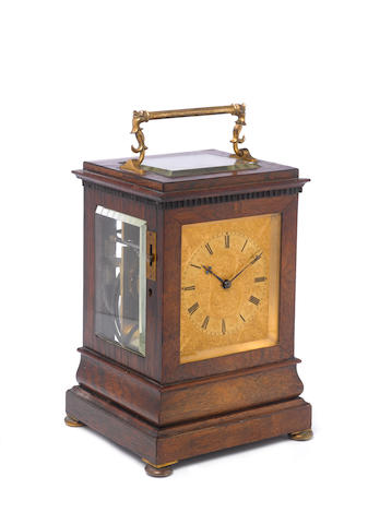 A good mid 19th century rosewood travelling clock with 'loud/soft' striking option Payne, 163 New Bond Street