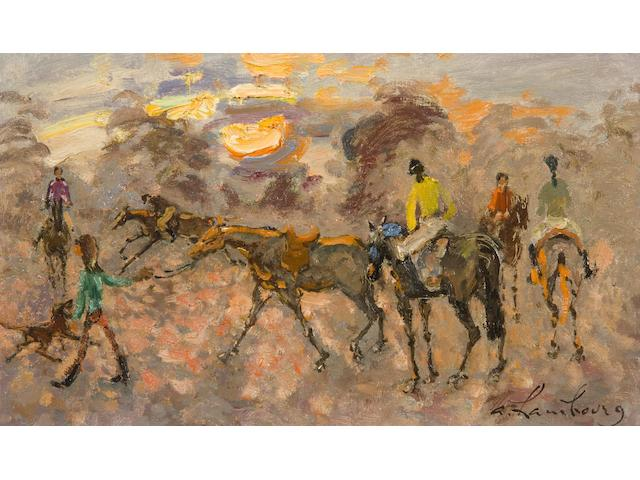 Andre Hambourg (1909-1999) Horse racing at Dusk