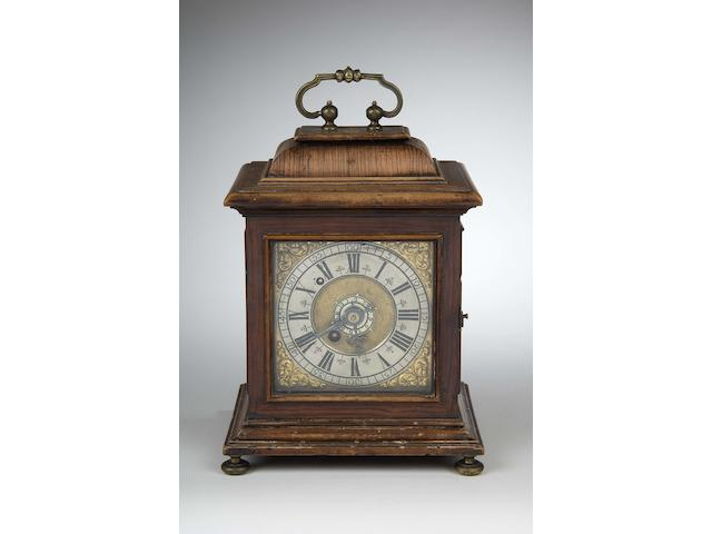 A mid 18th century olive-wood and walnut bracket clock Unsigned