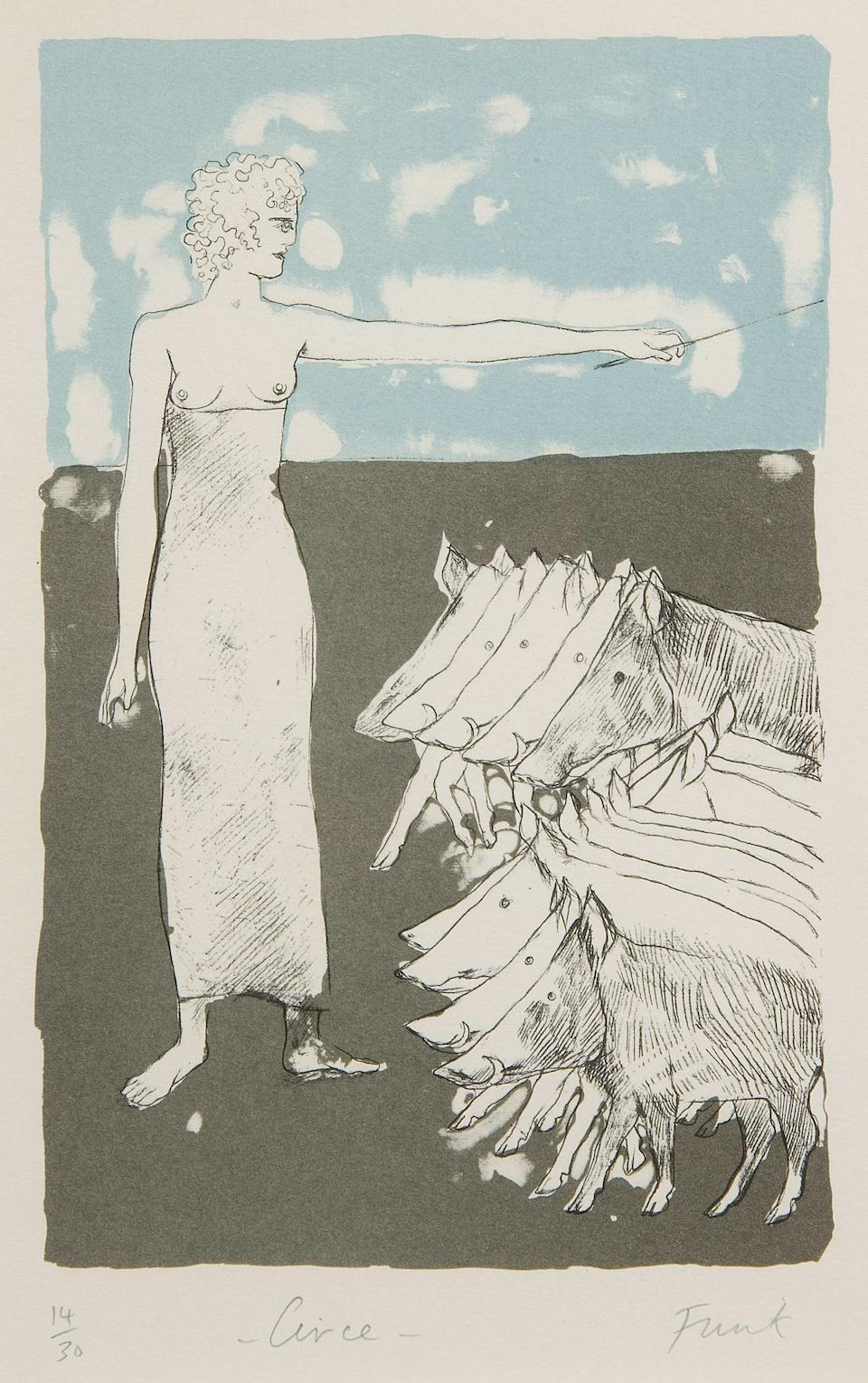 Dame Elisabeth Frink R.A. (British, 1930-1993) 'Telemachus with Nestor' and 'Circe', a pair (2)