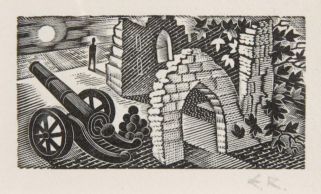 Eric William Ravilious (British, 1903-1942) Figure and canon beside ruins