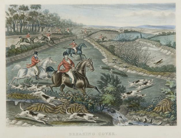Charles Hunt (British, 1803-1877) A series of four hunting prints: The Meet; Breaking cover; Full Cry; The Death