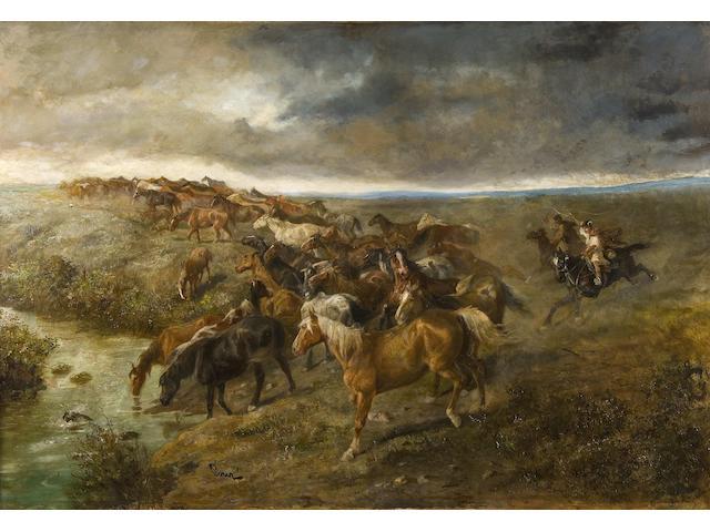 Joseph (Edler von Perez) Berres (Austrian, 1821-1921) Horsemen driving wild horses beneath brooding skies